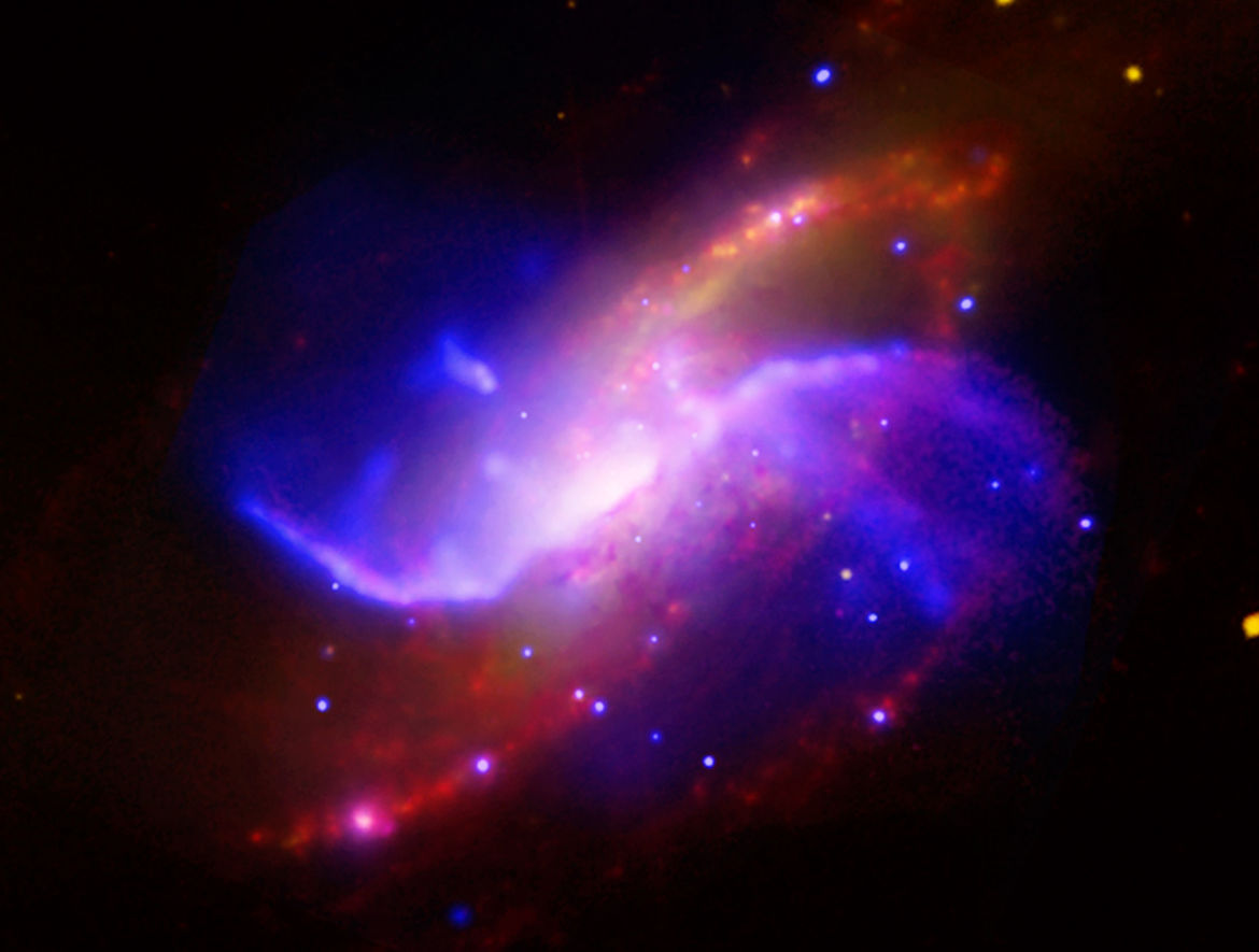 "The spiral galaxy M106 has ""anomalous arms"" that emit X-rays, seen here by the Chandra X-ray Observatory. Credit: NASA/CXC/Univ. of Maryland/A.S. Wilson et al."