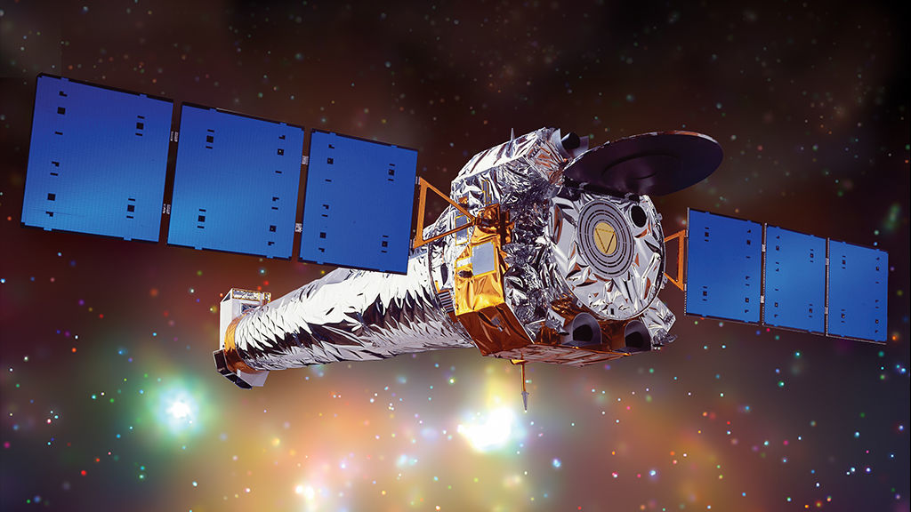 Artwork of the Chandra X-Ray Observatory in space. Credit: NASA/CXC/NGST