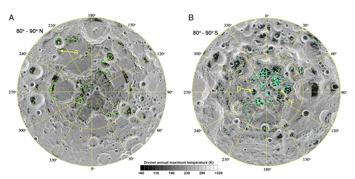 Water ice has been found on the Moon in thousands of locations (green dots) by the Moon Mineralogy Mapper on the Indian Chandrayaan-1 spacecraft. All the locations are very cold, and the ice is within millimeters of the surface. Credit: Li et al