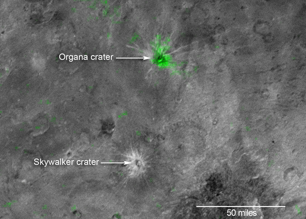 Visible-light image with the infrared ammonia map (shown in green) superposed. Clearly, Organa is loaded with ammonia while Skywalker is not. Credit: NASA/JHUAPL/SwRI