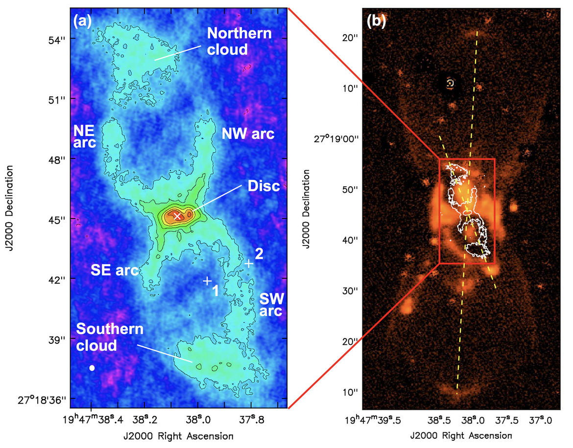The dusty hourglass from Nova Vulpeculae 1670 (left) is actually a smaller part of a much larger gaseous hourglass structure (right), evidence that a complicated event created the nova. Credit: S. P. S. Eyres et al.