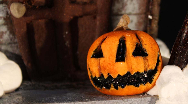 closeup of pumpkin on stoop