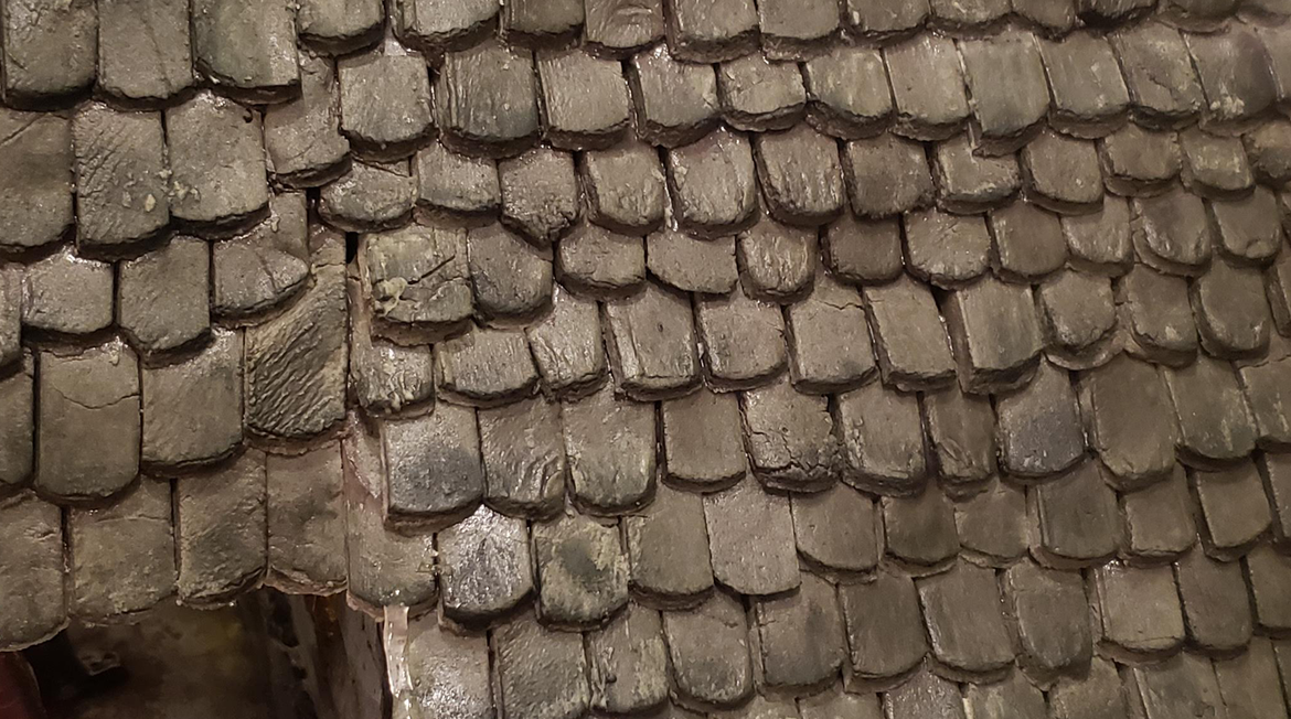 closeup of the roof tiles
