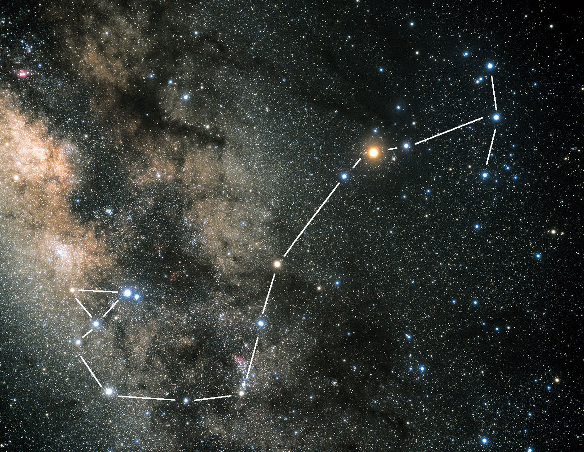 The constellation of Scorpius, the scorpion, one fo the few that kinda looks like what it's supposed to. Credit: Akira Fujii