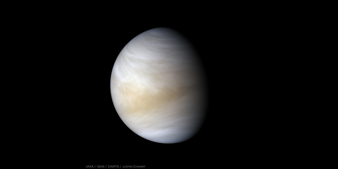 Two Akatsuki probe images of Venus in the ultraviolet and infrared were combined to produce this striking view of our sister planet. Credit: JAXA / ISAS / DARTS / Justin Cowart