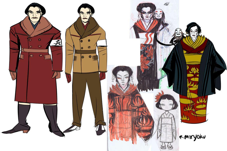Crimson Lotus Character Designs Group 2