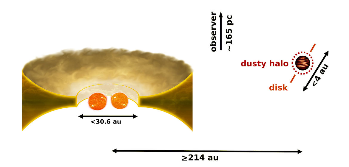 A schematic of the CS Cha system shows a binary star enshrouded in a disk of dust and a companion object 31 billion kilometers out. Credit: C. Ginski/G.A. Muro Arena