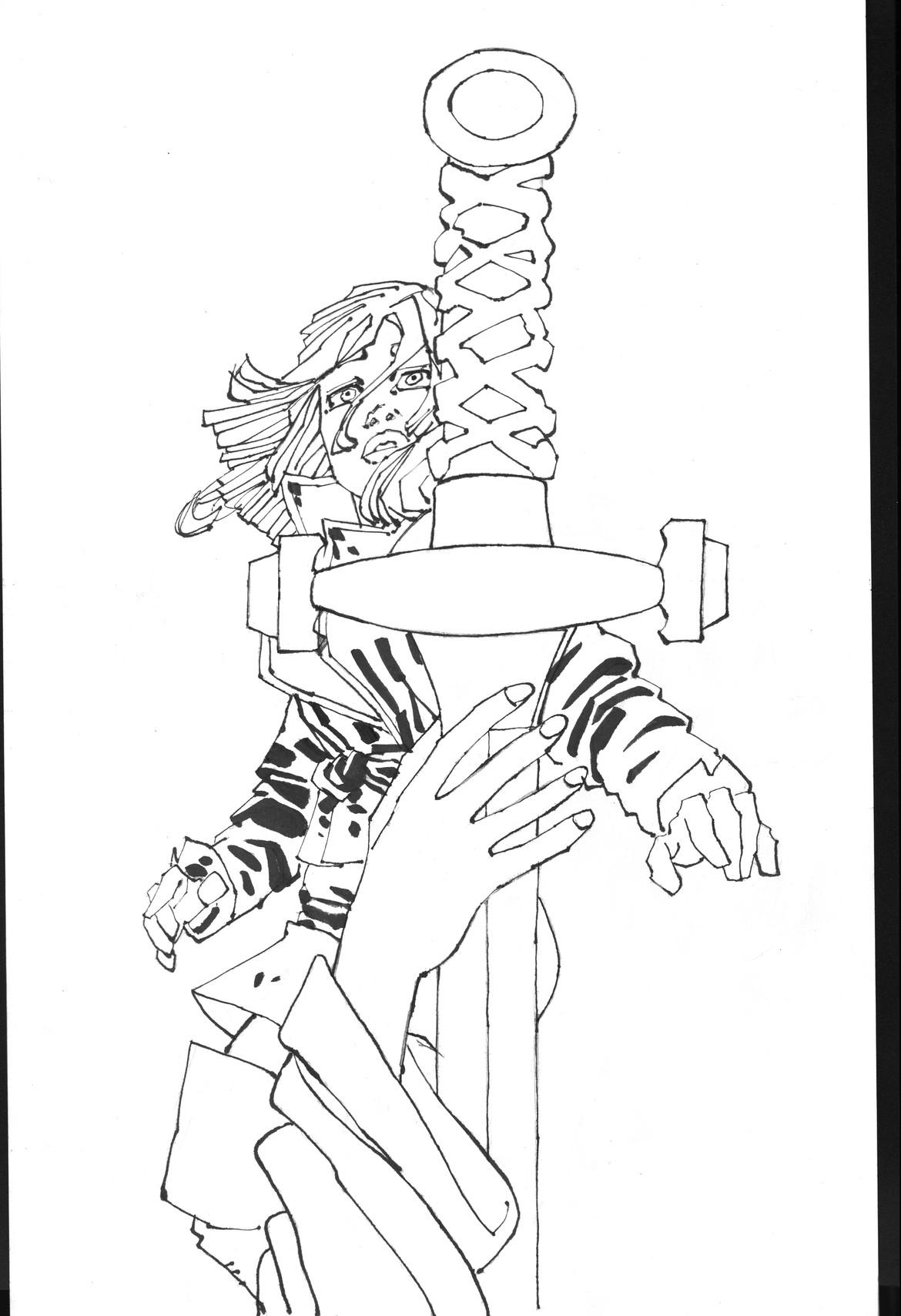 CURSED illustration by Frank Miller