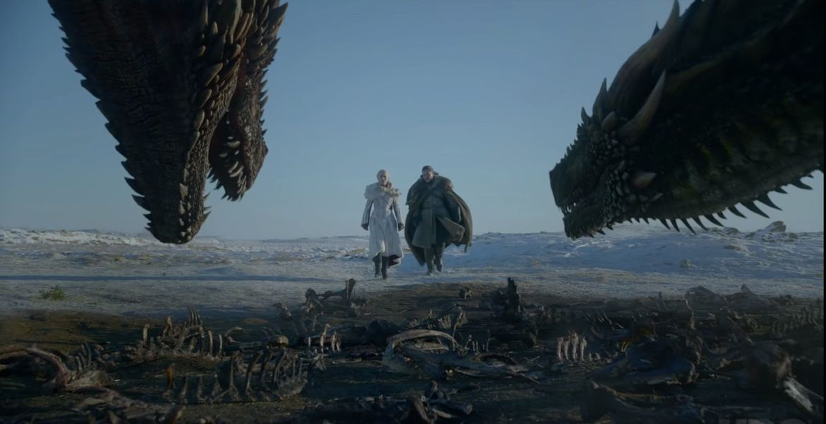 Daenerys and Jon Snow and dragons, Game of Thrones trailer