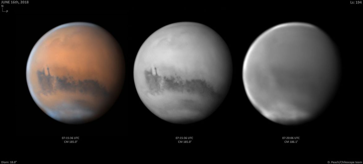 Mars seen from Earth with the dust storm evident.