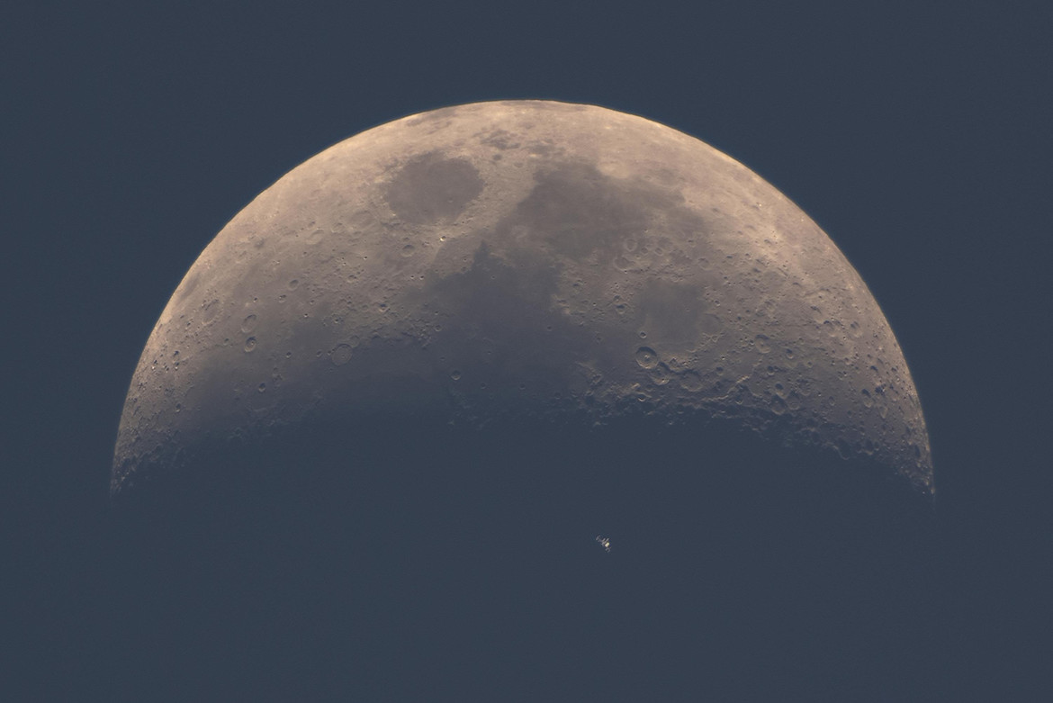 ISS transits the Moon