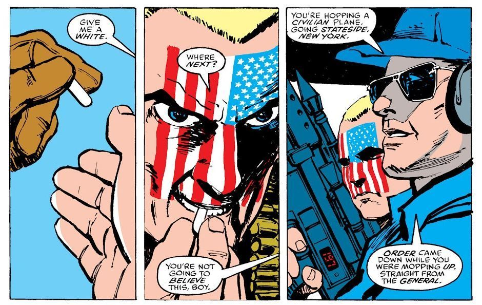 Nuke's first appearance in Daredevil #232 by Frank Miller and Mazzucchelli