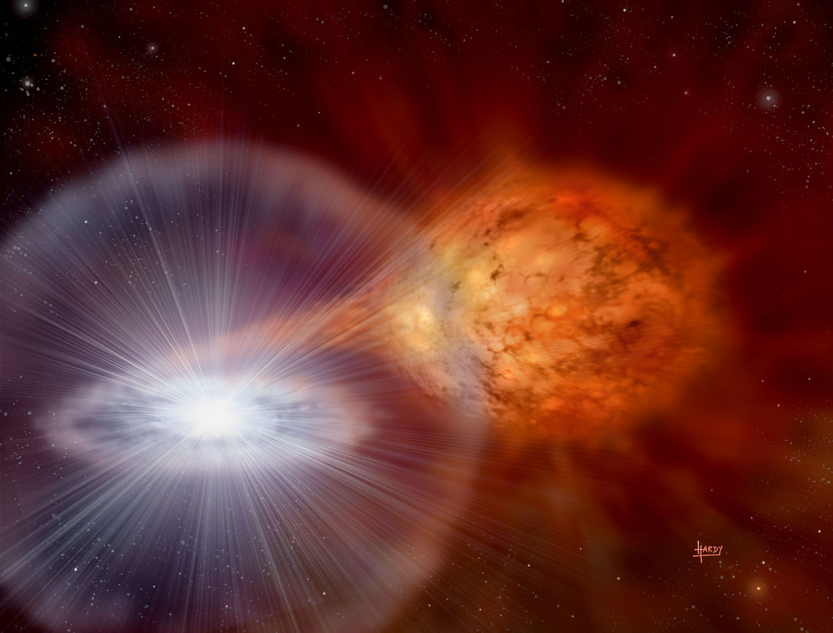 Artist's drawing of the RS Ophiuchi system, a recurring nova, where a white dwarf is accumulating matter from a star orbiting it. Credit:David Hardy & PPARC