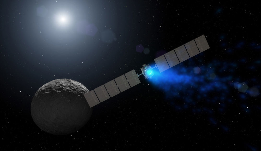 Artwork depicting the Dawn spacecraft at Ceres. Credit: NASA/JPL-Caltech