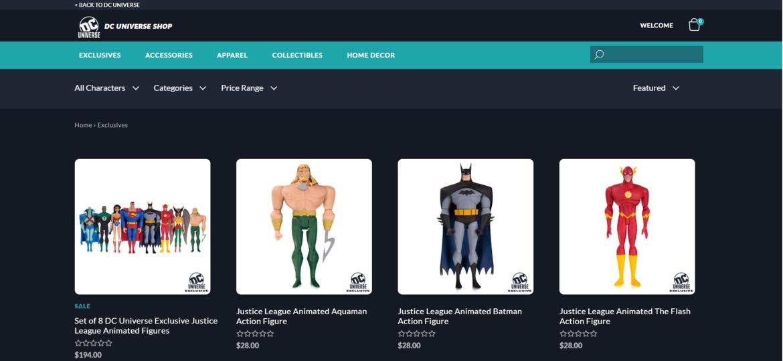 DC Universe shop exclusives