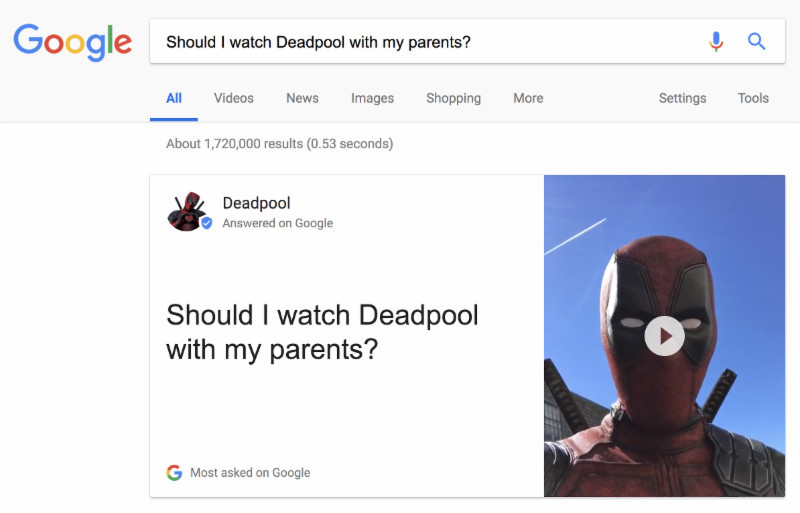 Deadpool- google takeover parents question