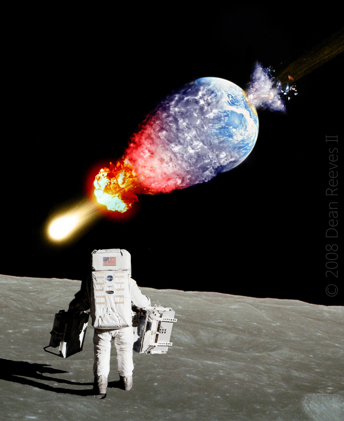 artwork of astronaut on Moon watching Earth destroyed