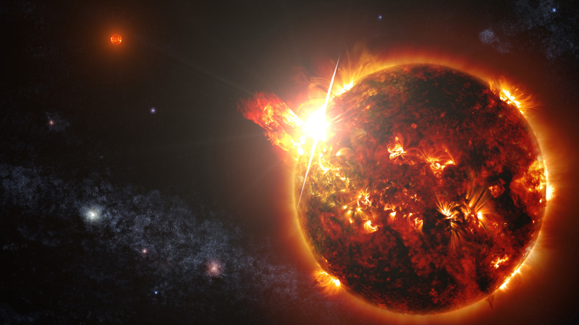 Artwork of a red dwarf in a binary system undergoing a flare. Credit: NASA's Goddard Space Flight Center/S. Wiessinger