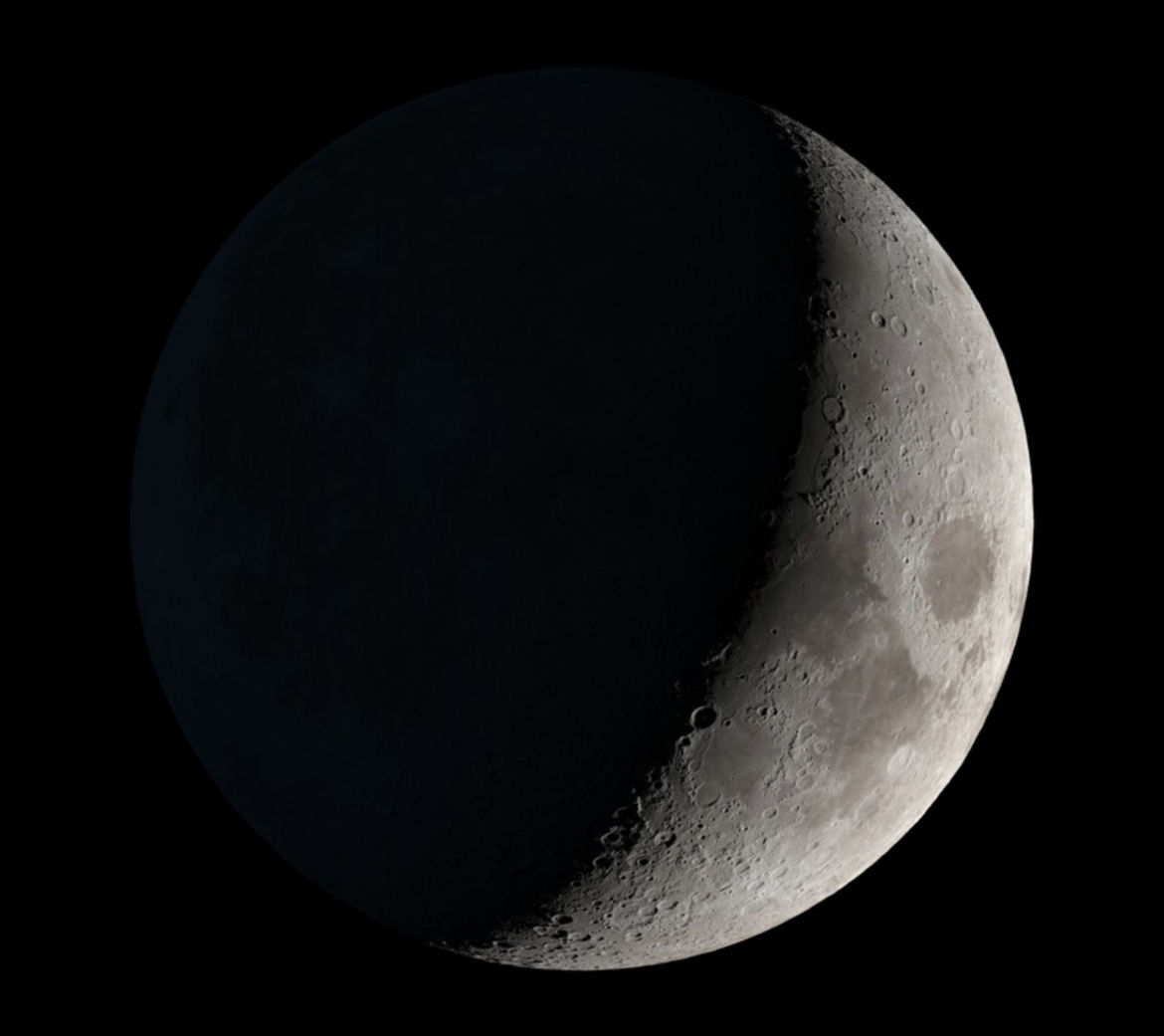 The Moon will be a waxing crescent, 30% full, just before midnight, Dec. 31, 2019. Credit: NASA's Scientific Visualization Studio