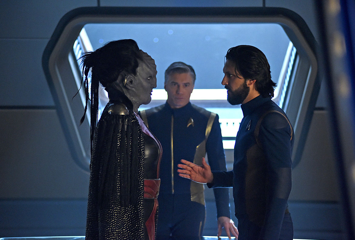 Mary Chieffo, Anson Mount, and Shazad Latif on Star Trek: Discovery (Credit: John Medland/CBS)