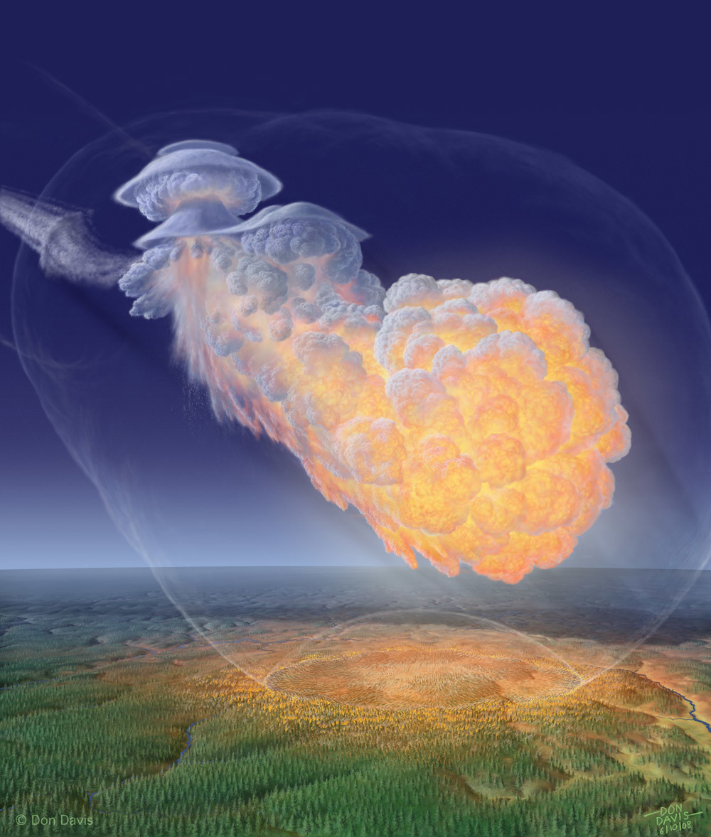 Artwork depicting the fireball from the Siberian Tunguska impact of 1908. Credit: Don Davis / DonaldEDavis.com used by permission