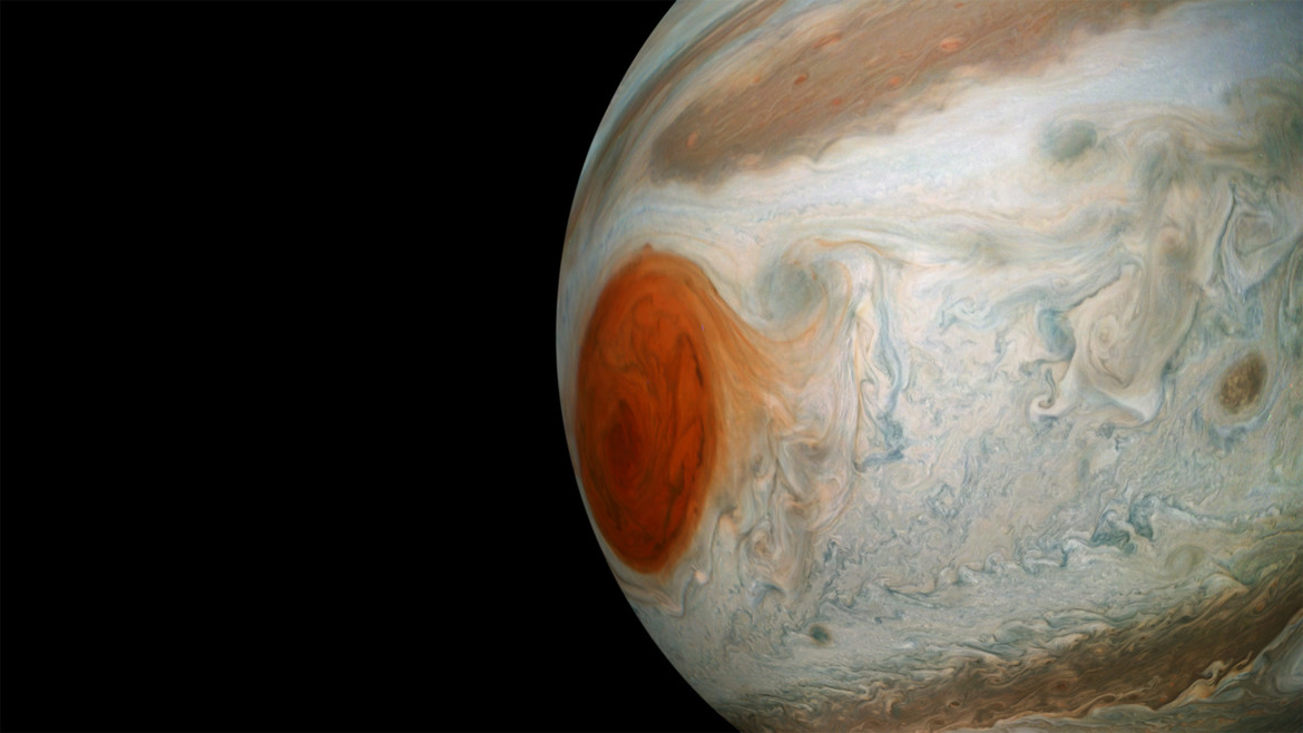 The Great Red Spot looms in this Juno image of Jupiter. Credit: NASA / SwRI / MSSS / Gerald Eichstädt / Seán Doran