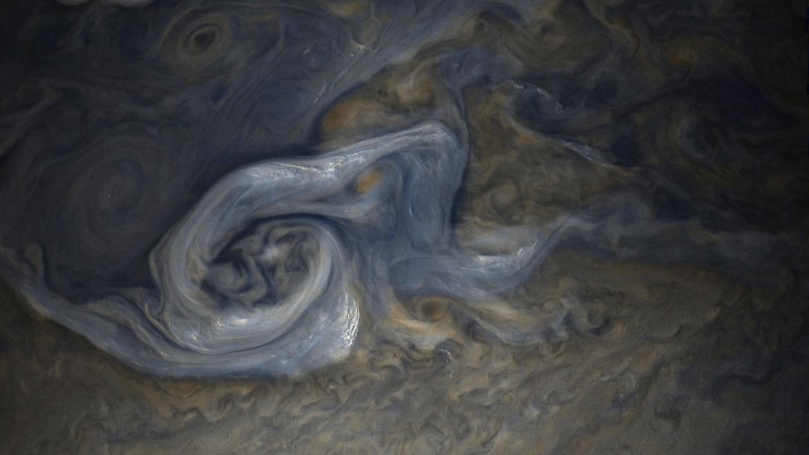 A cyclone whirls in Jupiter's north mid-latitude. Credit: NASA / SwRI / MSSS / Gerald Eichstädt / Seán Doran