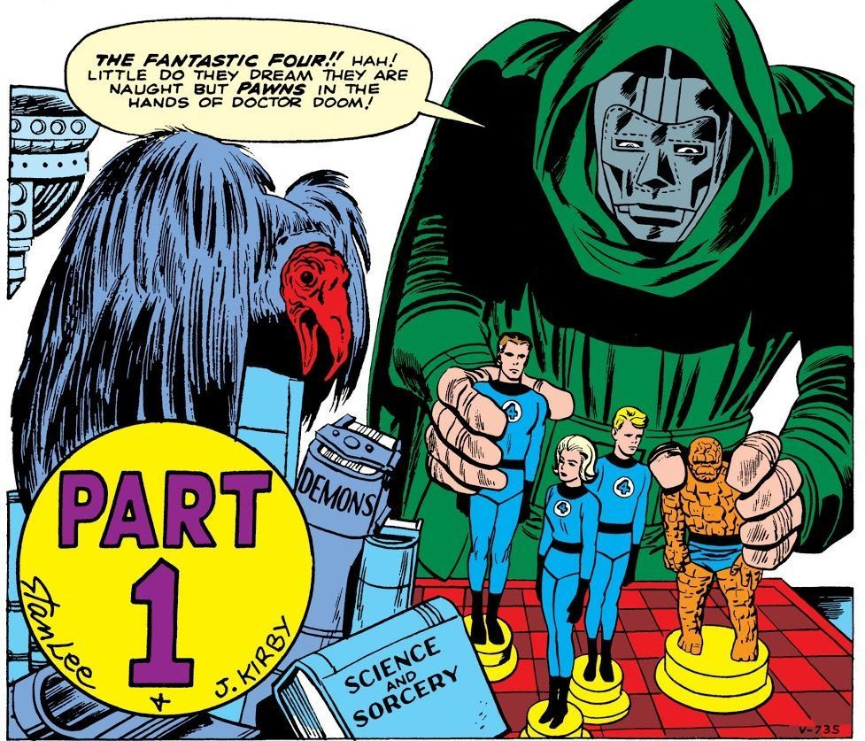 Doctor Doom makes his first appearance in The Fantastic Four #5, by Stan Lee and Jack Kirby