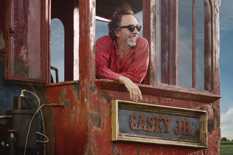 Tim Burton on the set of Dumbo