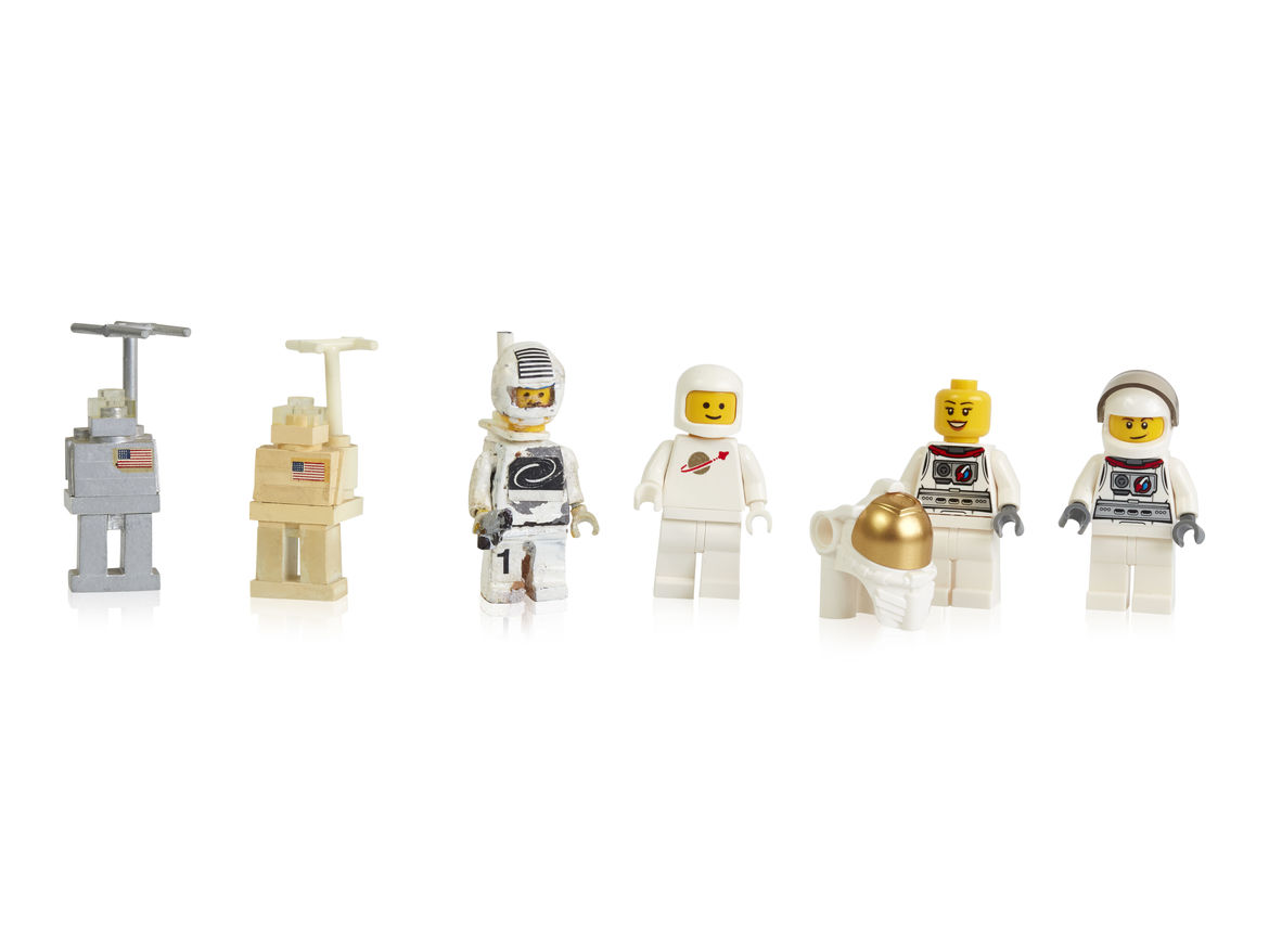 Early prototypes, first and more recent space minifigures