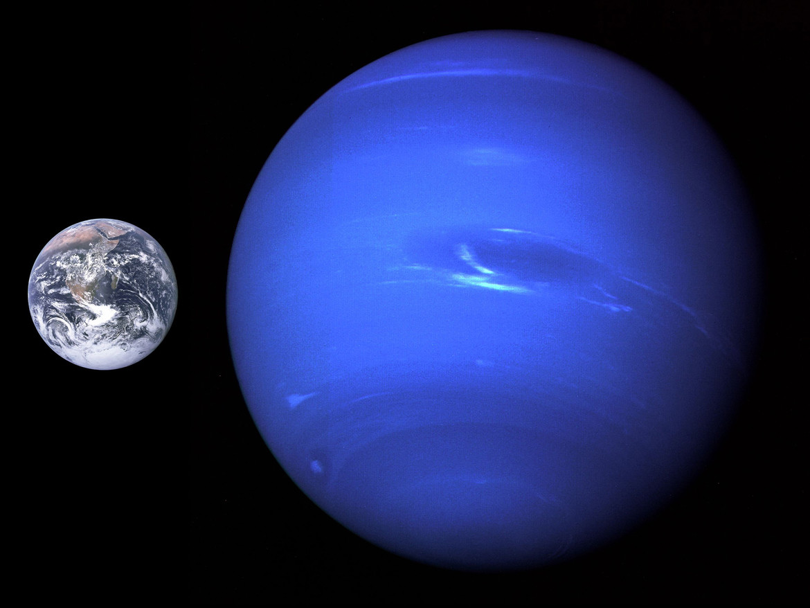 The sizes of Earth and Neptune to scale. There's a decent gap there, but not in most exoplanet systems. Credit: NASA / jcpag2012 at wikimedia