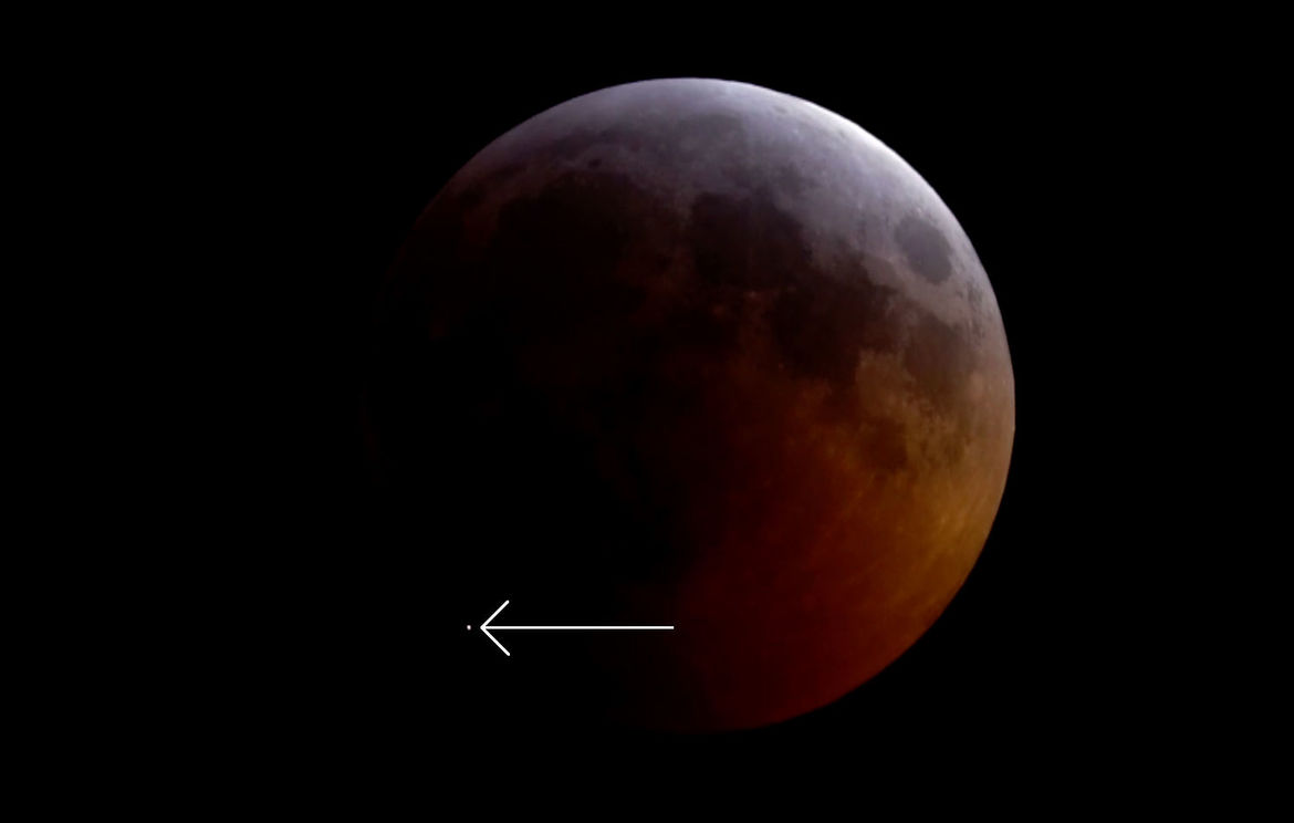 A small asteroid, probably only a few kilograms in mass, slammed into the Moon during a lunar eclipse on January 20, 2019. Credit: Griffith Observatory