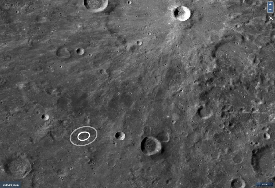The impact site of a small asteroid that hit the Moon during a lunar eclipse is mapped here; the inner ellipse marks the region where the uncertainty is limited by the flash, and the outer by uncertainties in the locations of the observers.