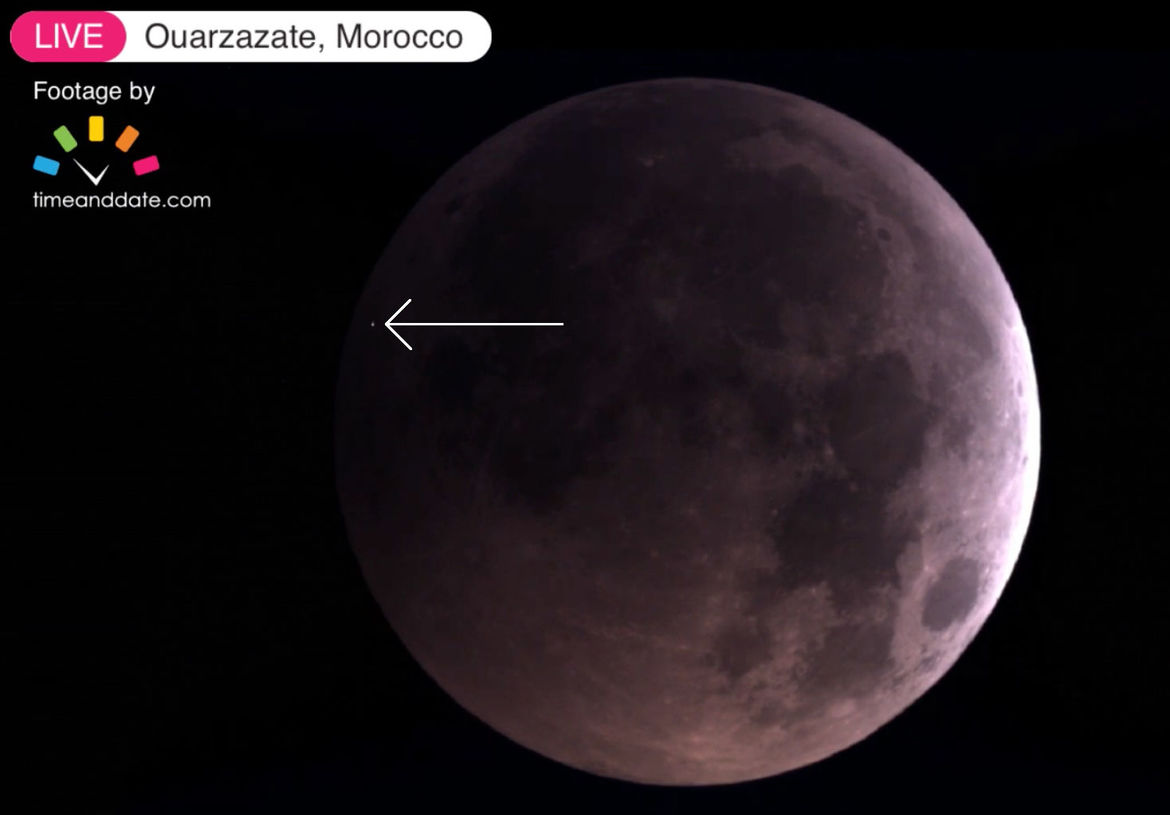 The small asteroid that impacted the Moon during the January 20, 2019 lunar eclipse created a flash bright enough to be seen in small telescopes. Credit: TimeandDate.com