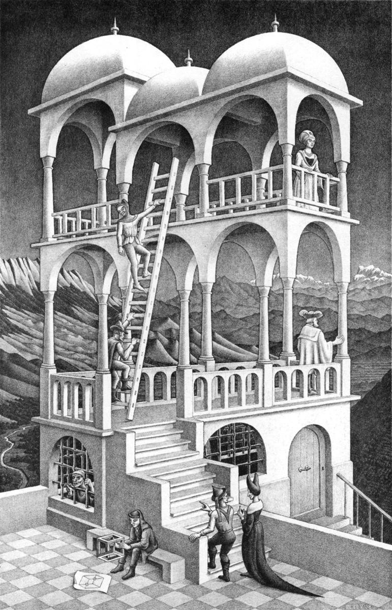 """M. C. Escher's iconic """"Belvedere"""", a paradoxical building where perspective is mind-bendingly distorted. Credit: M. C. Escher"""