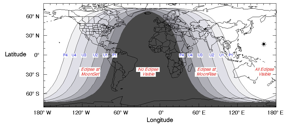Visibility map of the eclipse; white areas see the entire event, darkest regions see none. The labels are explained in the previous diagram. Credit: Fred Espenak