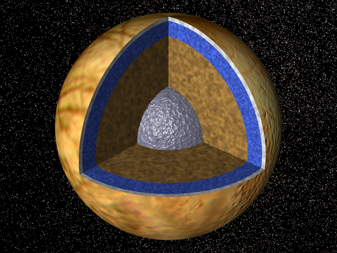 Cutaway view of Europa, showing (from inside out) the metallic core, thick layer of rock, the undersurface ocean, and the shell of ice on the surface. Credit: NASA/JPL