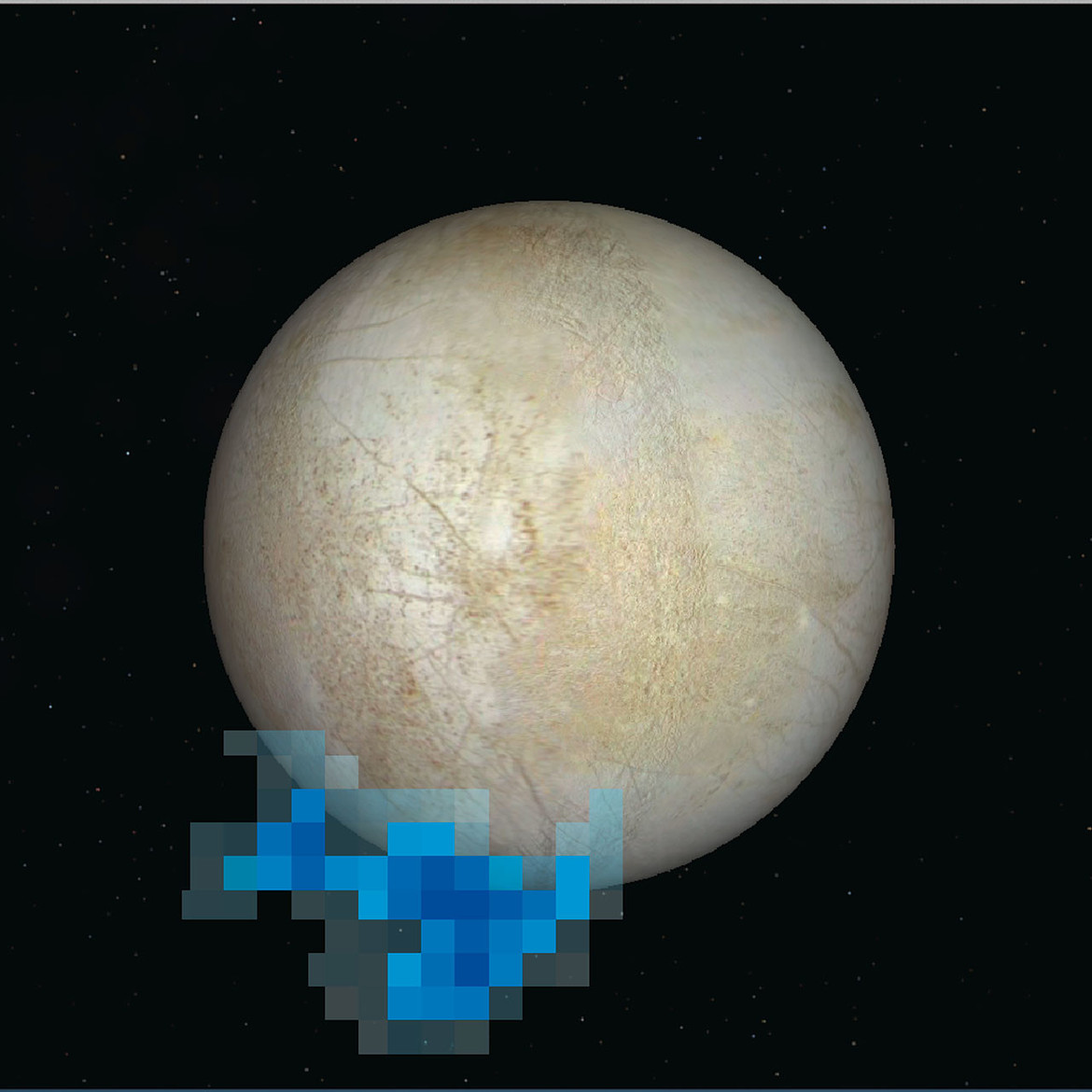 An image of Europa with the observations from Hubble superposed, showing where ultraviolet light was seen. Credit: NASA/ESA/L. Roth (Southwest Research Institute and University of Cologne, Germany)