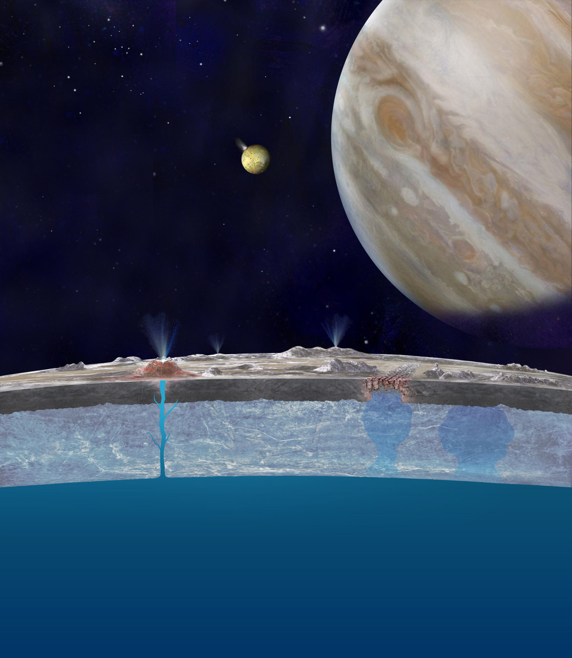 Europa has an undersurface ocean that may be feeding geysers on the surface. Credit: NASA/JPL-Caltech