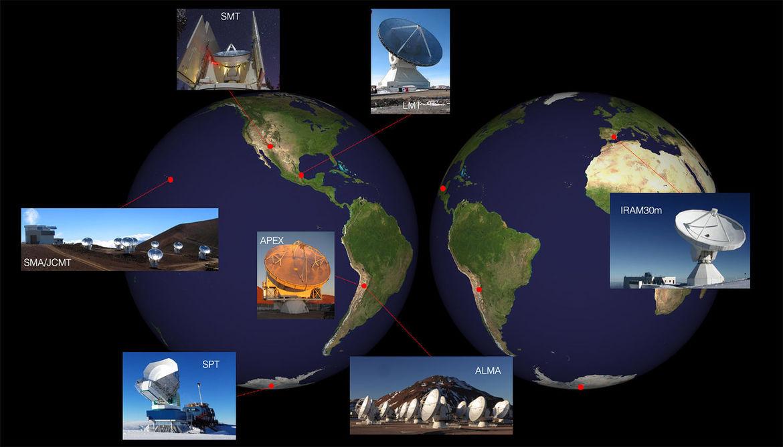 The eight telescopes across the Earth that comprise the Event Horizon Telescope. Credit: University of Arizona / Dan Merrone