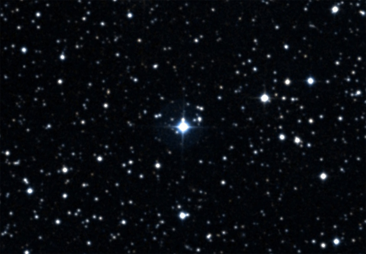 The star KIC 3542116, about 815 light years away, has comets orbiting it: exocomets. Credit: SIMBAD/Aladin