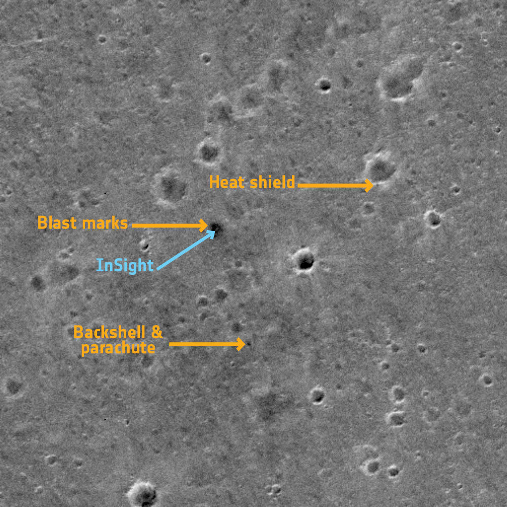 The landing site for NASA Mars InSight was spotted by the ESA/Roscosmos Trace Gas Orbiter. Credit: ESA/Roscosmos/CaSSIS, CC BY-SA 3.0 IGO