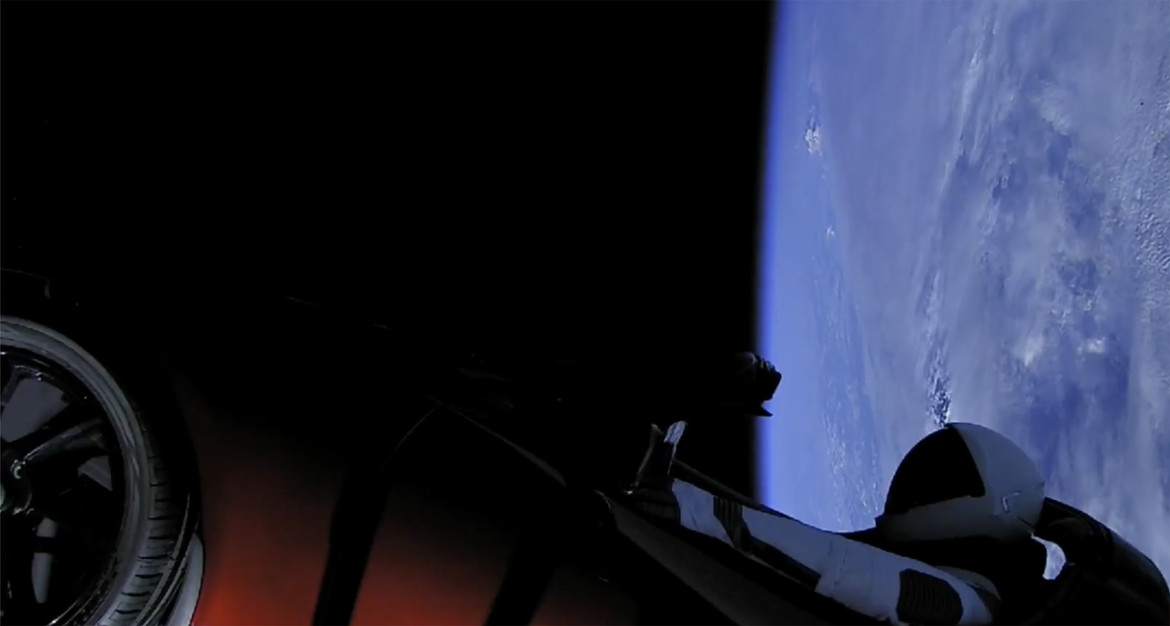 Floating in a tin can: Starman and the Roadster seemingly about to drive to Mars. Credit: SpaceX
