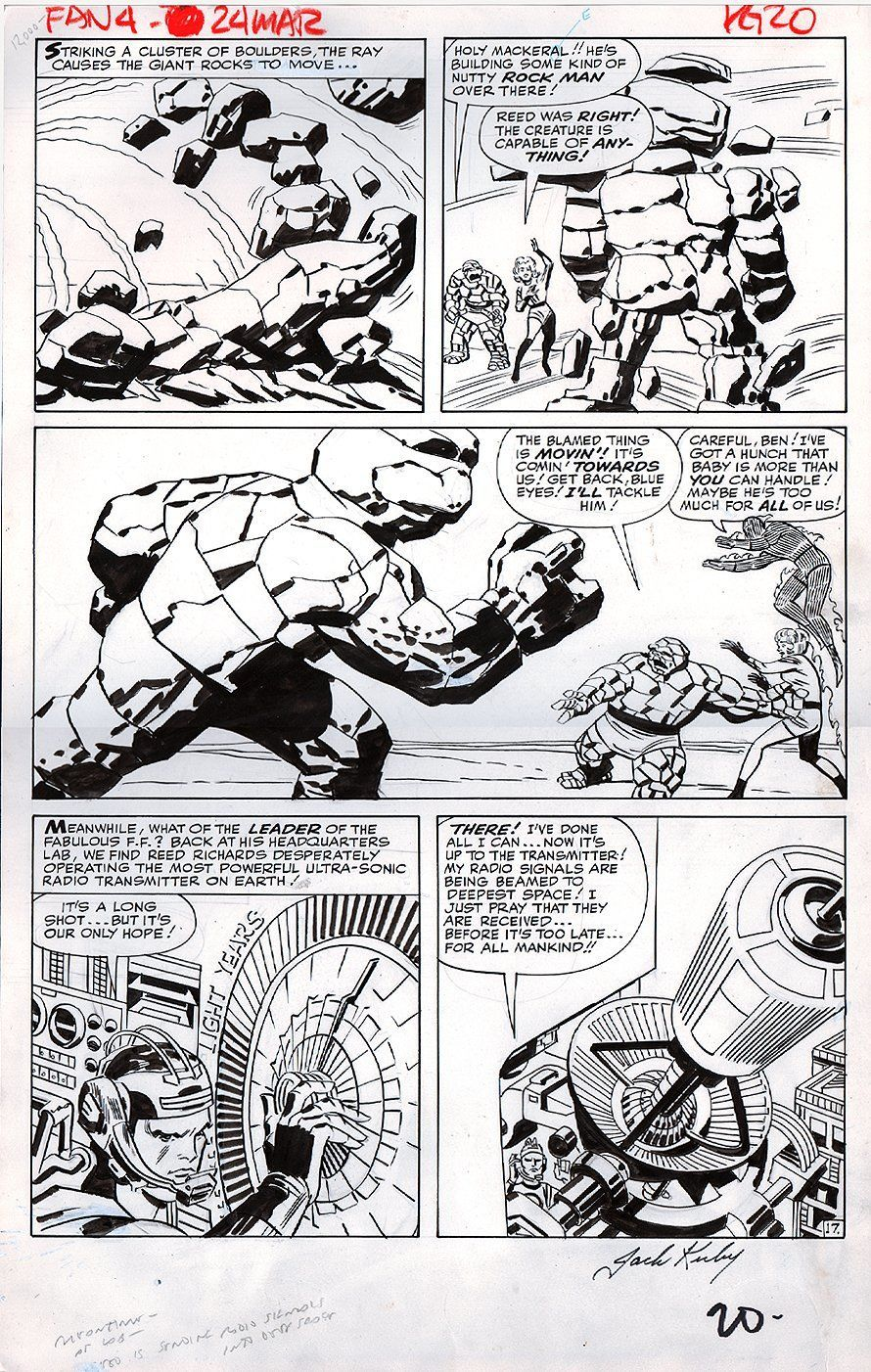 Fantastic Four battle page from issue #24 (1963), which was penciled by Jack Kirby and inked by George Roussos