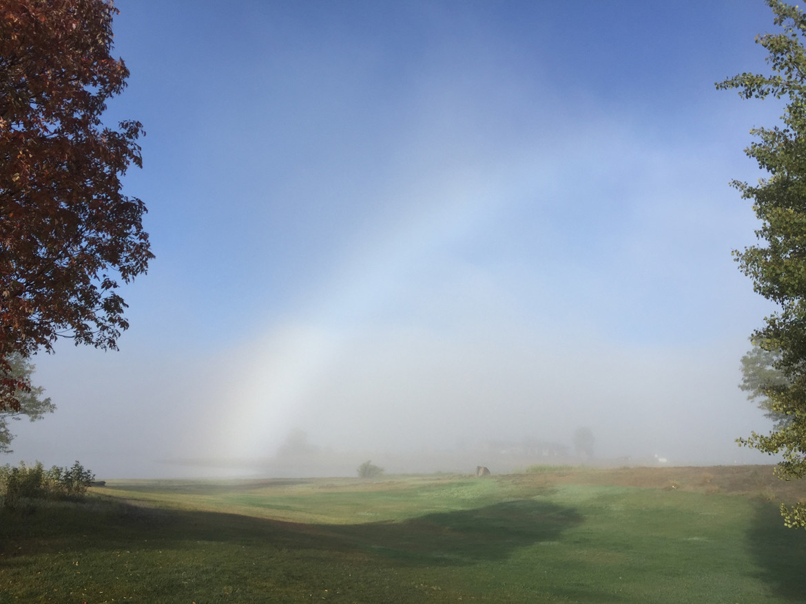 The fogbow base shows a hint of color. Credit: Phil Plait