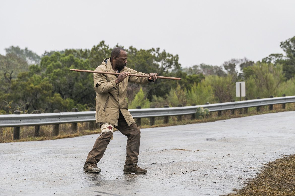 Fear the Walking Dead episode 403 - Morgan practicing with his stick