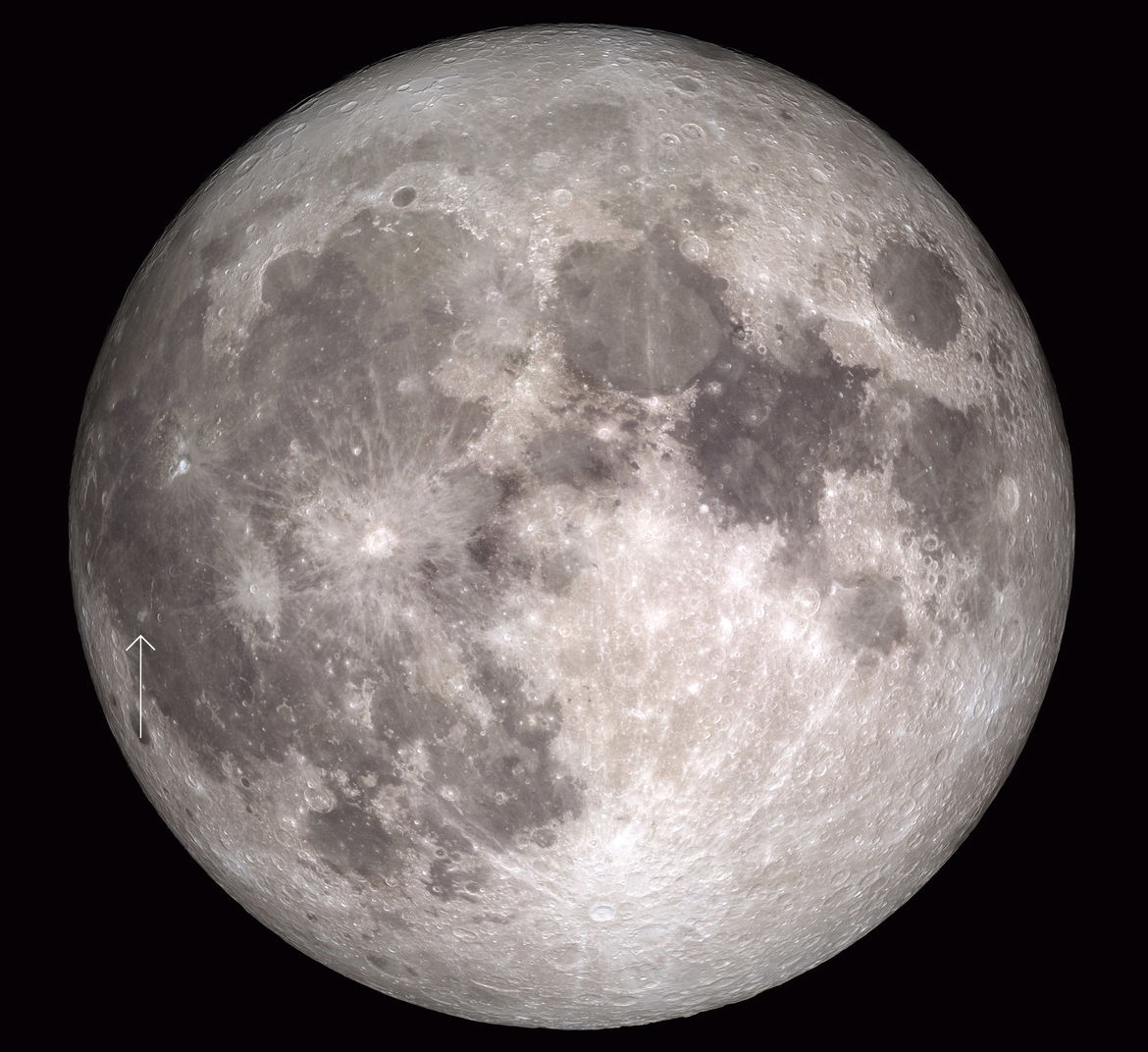Composite image of the full Moon made from Lunar Reconnaissance Orbiter images, with the location of Reiner Gamma arrowed (the crater Reiner is just to the right). Credit: NASA's Scientific Visualization Studio