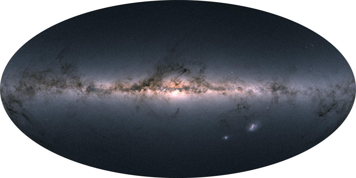 The entire sky —1.7 billion stars' worth —mapped by Gaia and displayed using color information also obtained by the satellite. You can see we live in a flat galaxy with a large central bulge, festooned with dark filaments of dust. Credit: Gaia/DPAC/ESA