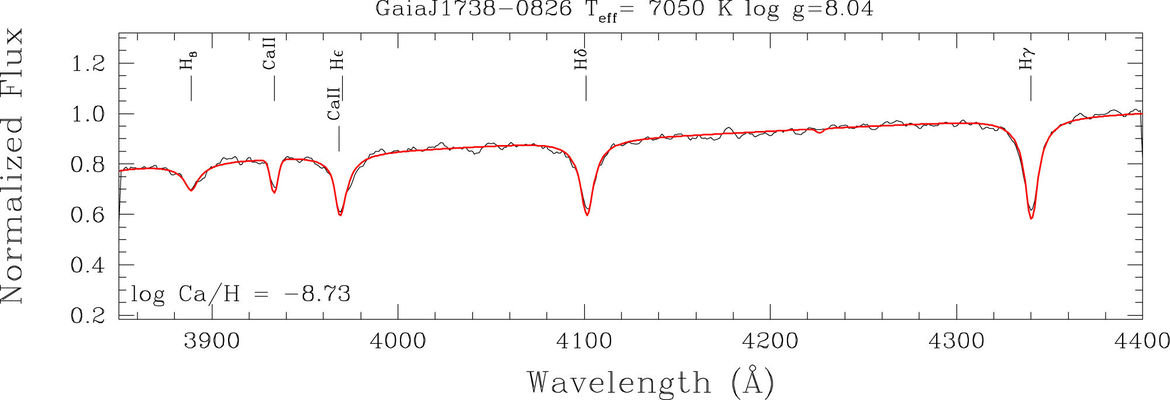 The spectrum of the white dwarf Gaia J1738-0826 shows calcium, meaning this is a star that's eating its own planets. Credit: Melis et al.