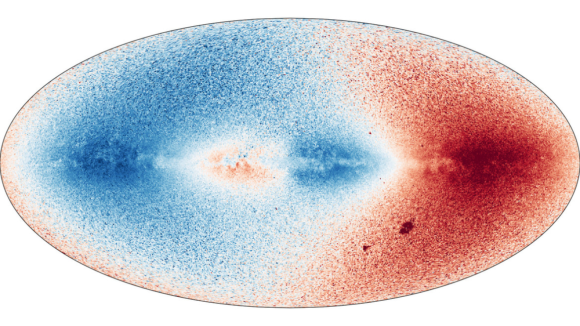 A velocity map of the stars in the sky, where stars moving away from us are mapped in red and stars moving toward us are in blue. Credit: Gaia/DPAC/ESA